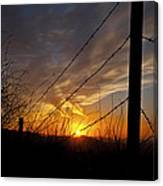 Sunset Along The Fence Yellow Red Orange Fine Art Photography Print  Canvas Print