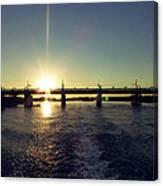 Sunset And Bridge Canvas Print