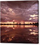 Sunset And Clouds Over Waterhole Canvas Print