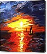 Sunset And Sails Canvas Print