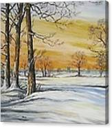 Sunset And Snow Sold Canvas Print