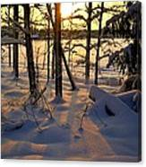 Sunset And Snow Canvas Print