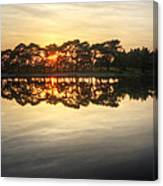 Sunset And Trees On Water Canvas Print