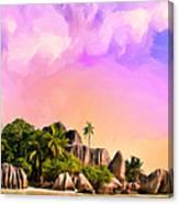 Sunset At Anse Source Argent Seychelles Canvas Print