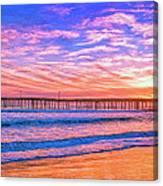 Sunset At Cayucos Pier Canvas Print