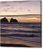 Sunset At Holywell Bay Canvas Print