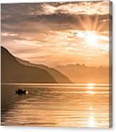 Sunset At Lyngenfjord Canvas Print