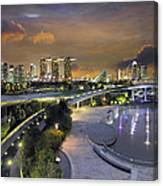 Sunset At Marina Barrage Canvas Print