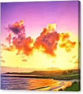 Sunset At Oneloa Beach Maui Canvas Print