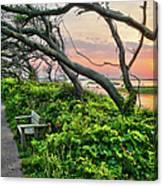 Sunset At Pea Island Wildlife Refuge Outer Banks I Canvas Print
