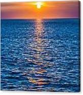 Sunset At Sea With Multiple Color Prizm Canvas Print
