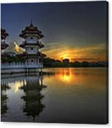 Sunset At Singapore Chinese Garden Canvas Print