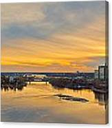 Sunset At The City By The River Canvas Print
