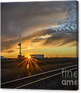Sunset At The Edge Of Oil Rigs Canvas Print