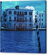 Sunset At The Hotel Canal Grande Venice Italy Near Infrared Blue Canvas Print