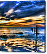 Sunset At Washed Out Pier Canvas Print