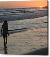 Sunset Beach Silhouette Canvas Print