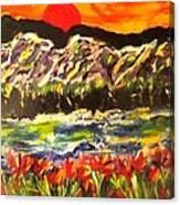 Sunset Behind Dark Hills Canvas Print