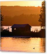 Sunset Boat House Canvas Print