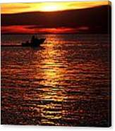 Sunset Boaters Canvas Print