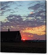 Sunset By The Barn Canvas Print