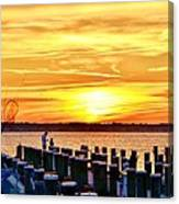 Sunset By The Dock Canvas Print