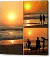 Sunset - Orange Beach Collage Canvas Print