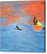 Sunset Cranes Canvas Print
