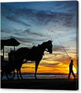Sunset Fisehrman Canvas Print