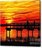 Sunset Fishing At The Pier Canvas Print