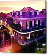 Sunset From The Balcony In The French Quarter Of New Orleans Canvas Print