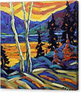 Sunset Geo Landscape Original Oil Painting By Prankearts Canvas Print