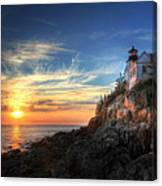 Sunset Glow At Bass Harbor Canvas Print