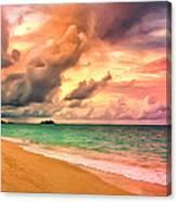 Sunset Glow At Waimanalo Canvas Print