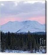 Sunset Glow Behind Winterly Little Peak Yt Canada Canvas Print