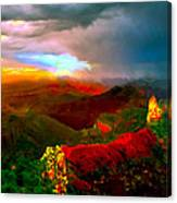 Sunset Imperial Peak North Grand Canyon Panorama Canvas Print