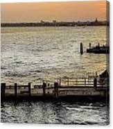 Sunset In Manhattan Pier Canvas Print