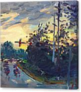 Sunset In Military Highway Norfolk Va Canvas Print