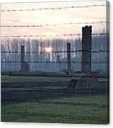 Sunset In The Former Death Camp Auschwitz Birkenau Poland Canvas Print