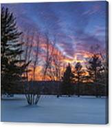 Sunset In The Park Square Canvas Print