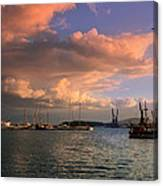 Sunset In The Port Canvas Print