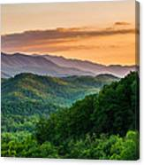 Sunset In The Smoky's Canvas Print