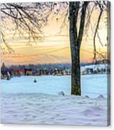 Sunset In The Snow Canvas Print