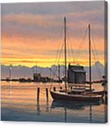 Sunset-north Dock At Pelee Island   Canvas Print