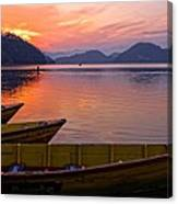 Sunset On A Mountainlake Canvas Print