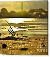 Sunset On A Sandy Beach Canvas Print