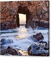 Sunset On Arch Rock In Pfeiffer Beach Big Sur California. Canvas Print