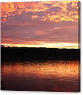 Sunset On Cayuga Lake Cornell Sailing Center Ithaca New York II Canvas Print