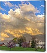 Sunset On Mixed Clouds Canvas Print