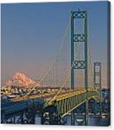 1a4y20-v-sunset On Rainier With The Tacoma Narrows Bridge Canvas Print